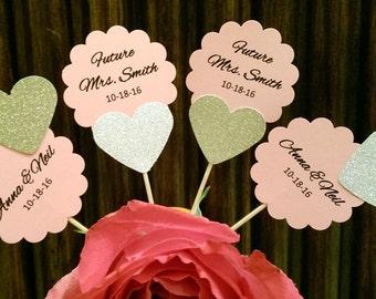 Personalized Custom Bridal Shower Cupcake Toppers, Bridal Shower Decoration, Wedding Cupcake toppers, Future Mrs, heart cupcake toppers,