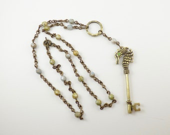 Seahorse Skeleton Key Y Necklace, Handcrafted Chain