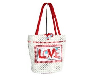 Red/White  Macrame  bag,handmade,tote,handbag