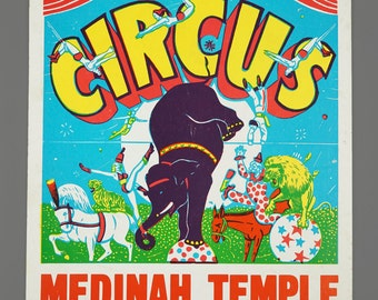 1960s Medinah Shrine Circus Poster Advertising 37th Annual Chicago Vintage Lithograph