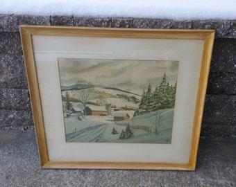 John Rogers framed winter scene watercolor print