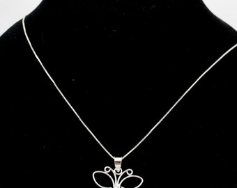Sterling Silver Butterfly Charm Necklace