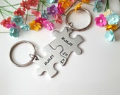 Couple Keychains, Boyfriend Gift, Long Distance Boyfriend Gift, Anniversary Gift for Boyfriend, Anniversary Date Keychain, Personalized Gift