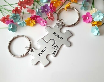 Personalized Keychains, Anniversary Gifts for Boyfriend, Date Keychains, Initial Keychains, Guy Gifts, Christmas Gifts for Him, Hand Stamped