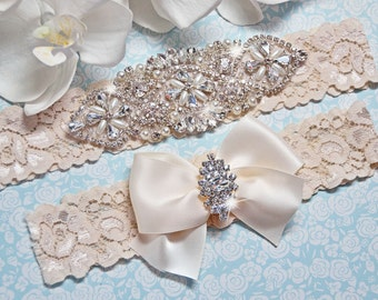 Bridal Garter, Pearl Wedding Garter Set, Ivory Lace Garter, Crystal Rhinestone Garter with Pearls, Catherine Style 10822