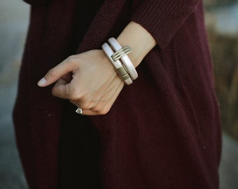 Leather and Brass Bangle in Blush