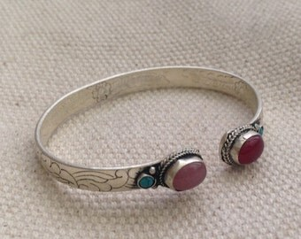 Elegant Turquoise Coral Pinkstone  Cuff Bracelet