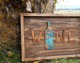 Rustic Wall Decor, Rustic Metal Wine Sign, Pallet Board Signs,Wood Home Decor,  Rustic Home Decor, Kitchen Decor, Wall Sign, Wine signs