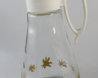 Atomic Log Cabin Maple Syrup Pitcher- Mid Century Starburst Glass Syrup or Honey Pitcher