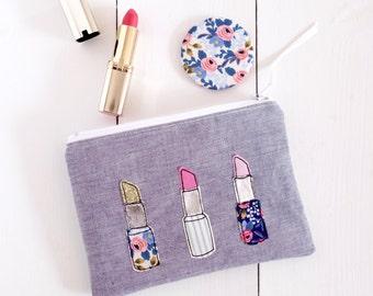 Lipstick Make Up Bag & Mirror Set - Make Up Bag - Pocket Mirror - Appliqué Make Up Bag - Handmade Make Up Bag - Compact Mirror - Make Up
