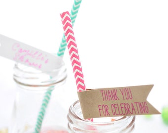 Paper straws with attached baby/bridal shower flags: striped, chevron or dotted straw option w/ your choice of flag