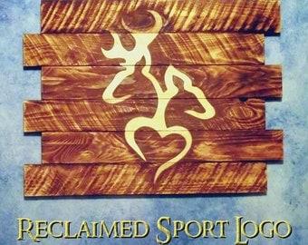 Browning Buck & Doe Heart, FREE UV protector, 30X23, Burnt wall hanging, Shou Sugi Ban, Charred wood, Man cave, Wood Sports sign