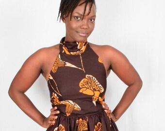 Halter neck, African maxi dress