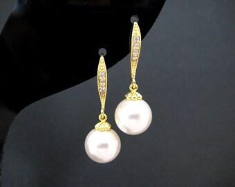 Bridal Pearl Earrings Swarovski 10mm Round Pearl Gold Earrings Wedding Jewelry Bridesmaid Gift Ear hooks Drop Earrings (E004)