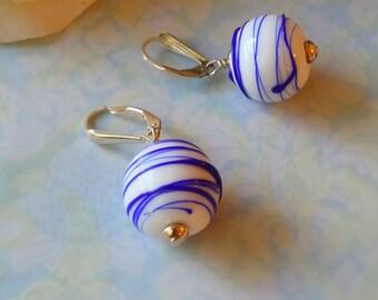Milk Glass Earrings Lamp Work Vintage Blue Stripes 1980s