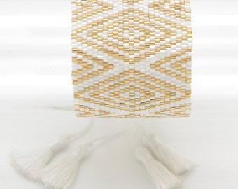 Gold - Brazilian gift - witness - Bracelet Cuff Bracelet Cuff Bracelet woven beads Miyuki - witness wedding gift - Lilie & Koh
