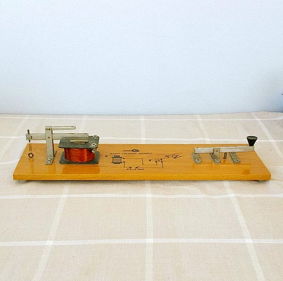 Vintage telegraph model Educational device Retro industrial decor Old School supplies Collectible Science history Students lab gadget