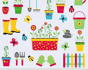 Garden Clip Art, Gardening Tools Clipart, Spring Garden Tools Clipart, Ladybugs Clipart, Butterflies Clipart, Digital Download Vector