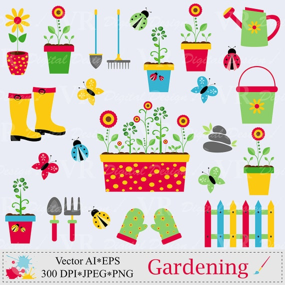 Garden clip art gardening tools clipart spring garden tools for Gardening tools clipart