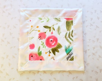 Floral Lovie / Lovey, Personalized Painted Floral Baby Lovie, Small baby Blanket,Lovey Blanket,Lovie Blanket,Floral Blanket,Security Blanket