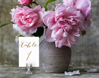 Wedding Table Numbers, Printable Table Numbers Editable Template | Wedding Reception | Gold Script| No. EDN 5121