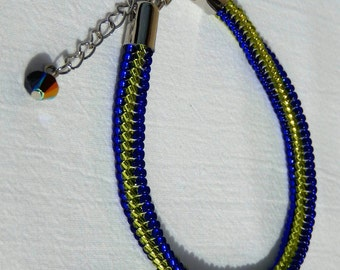 Sapphire/olivine herringbone bracelet