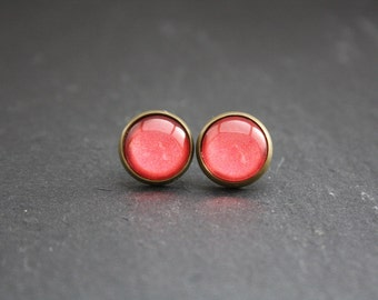 """Cabochon earrings """"Coral"""" 12 mm"""