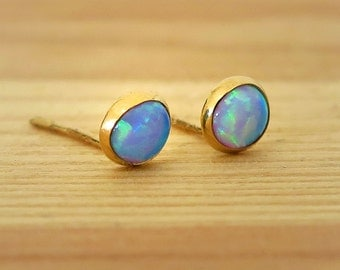 14K Gold Opal Studs | Opal Earrings | Gold Stud Earrings | 14K Gold Earrings | Gold Studs | Opal Jewelry | Blue Opal | October Birthstone