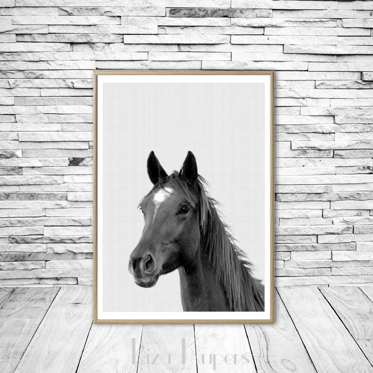 Wall Art Black Horse : Horse print art wall black and white by