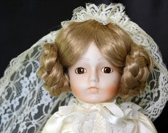 Musical Porcelain Doll, Fine Bisque Doll by Seymour Mann Bride Doll, Reproduction Doll, Wearing Victorian Wedding Dress with Original Box