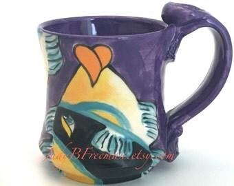 Ceramic Mug Stoneware Coffee Cup Handmade Wheel Thrown Hand Painted Fish Humuhumunukunukuapuaa Made to Order 12 Ounces MG0025