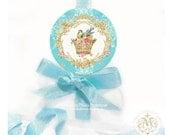 Bird stickers, crown sticker, cute bird sticker, pink roses, aqua, gift wrap, party decoration, scrapbooking, diary sticker, round stickers
