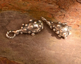 Dotted Teardrop in Sterling Silver, Artisan Teardrops with Dots, CH-562