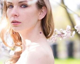Amethyst Earrings Stick earrings Linear Modern Jewelry February birthstone Gift for her Under 65 Vitrine Designs