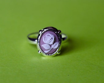 Tiny Mauve Rose Silver Cameo Ring