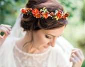 fall flower crown, fall headband, orange hair wreath, autumn floral crown, fall wedding hair accessories, burnt orange rustic hair piece #93