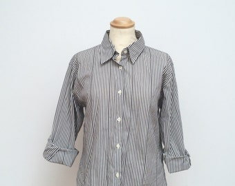 Stripped women's shirt, Collared shirt, Blue stripes, blouse, 1990s
