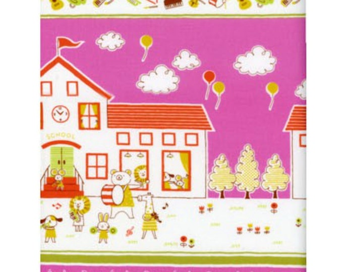 Border Fabric - K10700-700D BERRY - Petite Ecole Animals -Japanese Cotton - select a length