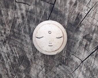 Beach Pottery Knob - Jizo Bodhisattva Face