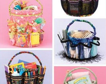 BUCKET COVER Pattern ~ Organize Sewing Supplies Baby Needs Garden Bathroom Toys & More Covers