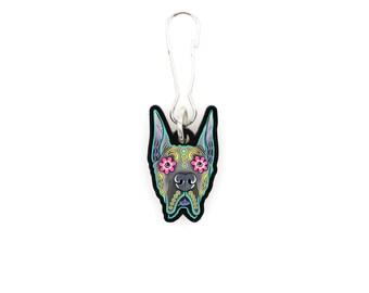 Great Dane - Cropped Ear Edition - Collar Charm / Key Chain / Zipper Pull - Day of the Dead Sugar Skull Dog