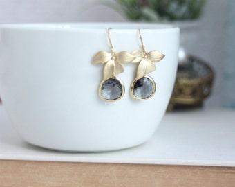 Grey Gold Orchid Flowers, Grey Glass Framed Drop Earrings. Bridesmaid Gift Modern Jewlery. Grey Gold Wedding, Bridal Wedding Earring