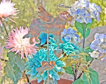 Saint Bernard / Pet Grave Marker / Garden Stake / Metal Garden Art / Yard Art / Copper Art / Pet Memorial / Dog Sculpture