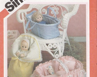 "1980s Simplicity 6056 Uncut Baby Doll Carrier Pattern (for Dolls up to 18"") Covered Basket & Bunting 1983 Vintage Sewing Pattern UNCUT"