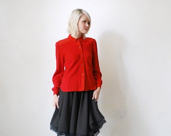SALE...80s ESCADA blouse. texturised red blouse. Escada top - medium