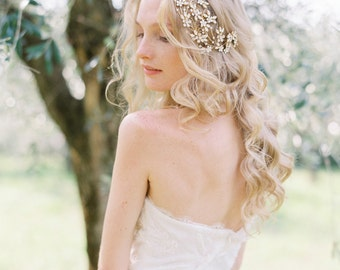 Bridal Headpiece, Crystal Headpiece, Floral Bridal Headpiece, Wedding Headpiece, Wedding Hair Accessory - Style 502