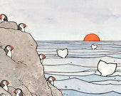 Whale tails and Puffins Illustration Cartoon Archival 5x7 Print