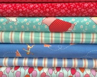 Michael Miller Sarah Jane 100 percent cotton fabrics Children Clothing, Home Decor Quilting Red Pink Aqua Blue  Rare Hard to Find