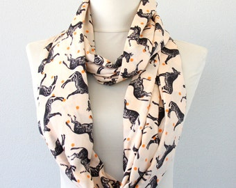 Zebra print scarf horse print infinity scarf peach summer scarf fall fashion scarves for women birthday gift for her circle loop scarf