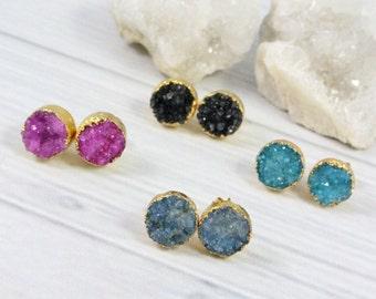 Druzy Stud Earrings, Druzy Earrings, Crystal Earrings, Druzy Studs, Druzy Jewelry, Post Earrings, Stone Earrings, Womens Gift, Gemstone